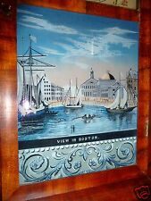 Glass Tablet 1800s View In Boston - Antique OG Clock Parts