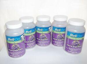 5 BOTTLES ReliOn Glucose Natural Grape Flavor (250 Total Tablets) 01/2023 Sealed