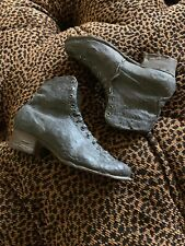 Pair realistic Miniature Victorian Resin Black Women's Granny Boots Grunge Hg16