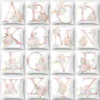 Letter Pink Floral Printing Pillow Case Throw Cushion Cover Sofa Home Decor UK