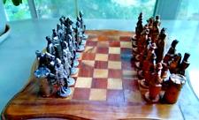 Vintage Chess Pewter Knights USSR Soviet RARE Set Wooden Box Casting Handwork