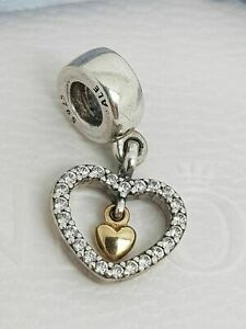 Pandora Genuine Forever In My Heart Charm 791421CZ Gold Heart Silver S925 ALE