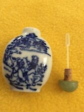 Antique Chinese Blue White Porcelain Jade Top Cork Stopper Spoon Snuff Bottle