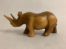 Vintage Hand Carved Exotic Wood Rhino Rhinoceros Figurine Made in Kenya 9 inch