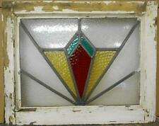 """OLD ENGLISH LEADED STAINED GLASS WINDOW Geometric Burst Design 21"""" x 16.75"""""""