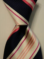 GIANNI VERSACE Men's 100% Silk Necktie ITALY Luxury STRIPED Blue/White/Pink EUC