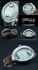 Oval Women's Watch Cavadini Designer O.Vaganza with Brown Reptile Bracelet