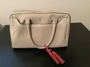 COACH LEGACY HALEY PERFORATED LEATHER SATCHEL BAG, MSRP:$398