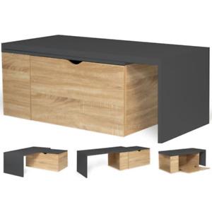 Table basse rotative bois et gris 360° LIZZI extensible avec coffre