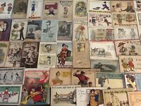 BIG LOT OF OLD ANTIQUE~ COMIC HUMOR funny ~POSTCARDS-1900's-All In Sleeves-a-149