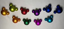 Disney Mickey Mouse Ears Mini Glass Bulb Christmas Ornament Set 10 Pieces Colors