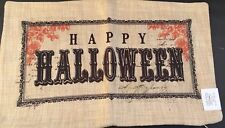 Happy Halloween Burlap Decorative Zipper Pillowcase 12x20 Cushion Lumbar Natural