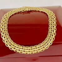 "ITALY 14K YELLOW GOLD STUNNING LADIES FANCY LINK BRACELET 11.4Gr. 7.5"" LONG"