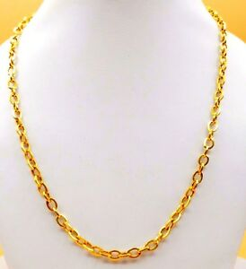 FLEXIBLE MEN WOMEN UNISEX DESIGN 916 22K YELLOW GOLD LINK CHAIN NECKLACE IND