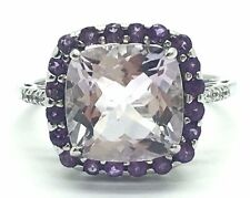Sterling Silver 925 Cushion Purple Amethyst Halo CZ Pave Band Cocktail Ring