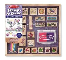 Kids Stamp Set Fairy Garden 20 Wooden Pad Color Pencils Craft Gift Girl NEW