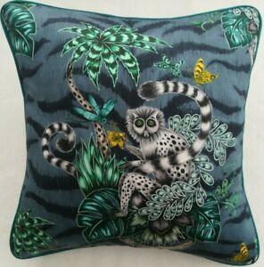 Emma J Shipley LEMUR NAVY cushion cover,  piped, 41cm x 41cm