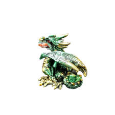 """Dragon Statue in Gold and Green 2.25"""" Mythical Fantasy Small Dragon Figurine G"""
