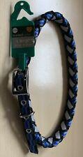 """XL Braided Blue Dog Collar 24-28"""" Rottweiler Mastiff Great Dane Bloodhound BNWT"""