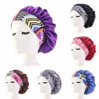 Women Satin Sleeping Hat Bonnet Hair Care Wide-brimmed Elastic Band Chemo Cap