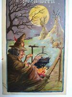Vintage Halloween Postcard Witch Cauldron Haunted Moon Leubrie & Elkus 2231