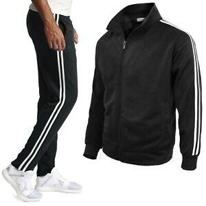 Tuta Sportiva Uomo Giacca con Zip + Pantaloni Basic con Righe 6435IT