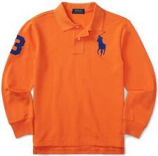 NEW Polo Ralph Lauren Boys Long Sleeve Polo Shirt BIG PONY LOGO Orange XL *V7