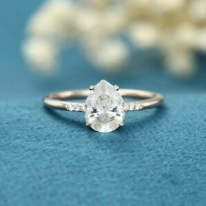 10X7MM Pear Cut Moissanite Solitaire With Accents Promise Ring 14k White Gold
