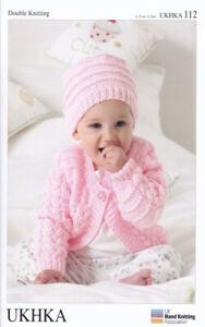 "UKHKA 112 Baby Cardigans, Hat & Blanket Knitting Pattern In DK 12-20"" (31-51 cm)"