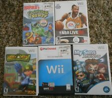 Nintendo WII Games Lot of 5 Army Men My Sims Fishing Frenzy NBA Live Wario Land