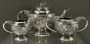 Indian Silver Tea Set                  c1885 MADRAS - HAND CRAFTED