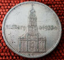 Germany Nazi 5 Reichsmark Postdam Church 1934 E .900 Silver Lot 3E