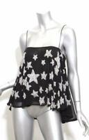TOPSHOP x KATE MOSS Black & Silver Beaded Star Spaghetti Strap Top Blouse 2-34