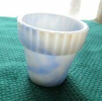 Blue Slag Glass Mini Flower Pot Toothpick Holder