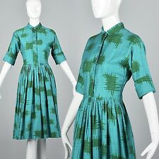 M 1950s Teal Day Dress Simple Vintage Dress Cotton Print 50s Casual Shirtwaist