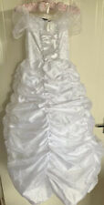 Girls Wedding Dress Ideal For Dress Up Age 4 With Hooped Skirt , Veil & Posey