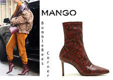 MANGO High Heel SNAKE EFFECT Ankle Boots RED Animal Print SNAKESKIN Shoes NIB