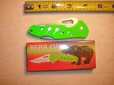 FROST CUTLERY USA BOXED POCKET KNIFE 3'' BLADE GREEN BEAR CUB LOT X1 KNIVES