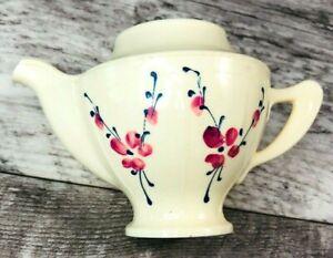 Vintage Ideal Child Plastic Play Teapot Tea Set I-505  1  Flower Pattern  *Gc