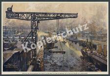 F. Schwörmstädt Hamburg Hafenkran Verladung Eisenbahn Dampfschiff Seefahrt 1925