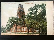 Vintage Postcard>1901-1907>Memorial Hall>Harvard University>Cambridge>Mass.