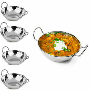 4,6,8,10,12 Balti Dish Stainless-Steel 15cm Indian Food Curry Serving Handled