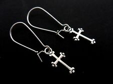 A PAIR OF CROSS EARRINGS ON SILVER PLATED KIDNEY EAR WIRES. NEW.