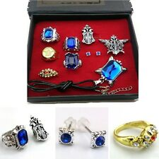 9pcs Anime Black Butler Ciel Sebastian Ring Necklace Earring Studs Jewelry Set