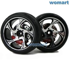 2pc RC 1/10 Alloy Brake Disc & Rims Wheels & Tires for 1/10 On Road Touring Car