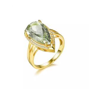 Green Amethyst Ring Prasiolite Natural Gemstone ring SS925 Gold Plated, 6-10 US