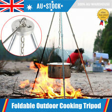 Outdoor Camping Cooking Tripod Grill Grate Hanging Pot Stand Portable Camp Fire