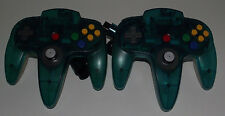 2 X Genuine Nintendo 64 N64 Clear Blue and Clear Controller Preloved Refurbed