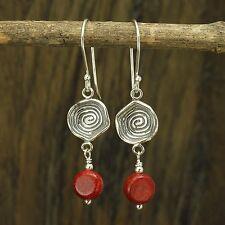 925 Sterling Silver Coral Dangle Earrings Artisan Handmade Women's Jewelry X850