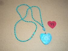 Beautiful Blue Marble Crystal Healing Heart Pendant Necklace #77 NEW